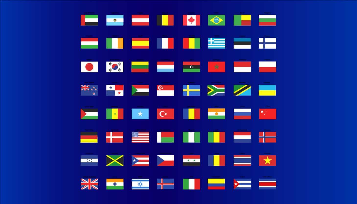 اسامی کشور ها به انگلیسی